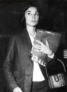 Audrey Hepburn and the wicker basket she turned into a handbag.