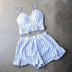 reverse - striped denim blue & white two piece set - shophearts - 1