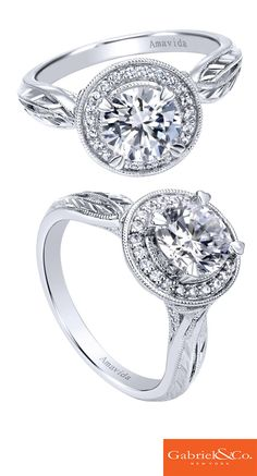 These side details and designs are absolutely impeccable and flawless! A beautifully designed Amavida 18k White Gold Diamond Halo Engagement Ring. Discover your perfect engagement ring at Gabriel & Co. The details really are what make the engagement ring so special and unique.