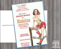 Western Cowgirl Pin Up Girl Invitation- Bachelorette party