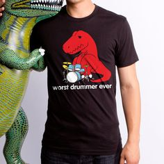 c187120b Worst Drummer (GT4733-101BLK) Men's T-shirt. Music, dinosaur lover. Brother  In Law GiftT Rex ...