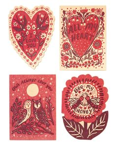 Valentine's Day card set by Phoebe Wahl