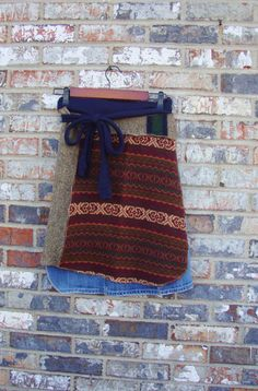 Sweater Denim Wrap Skirt/ Knee Length Winter by RebirthRecycling, $65.00
