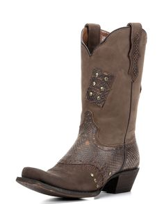 Go for a joyride with the Mary Jo. Faux reptile print provides cunning accent to beautiful saddle brown leather. Playful patches are wildly stitched and studded to the shaft. An eagle medallion stitch graces the toe.