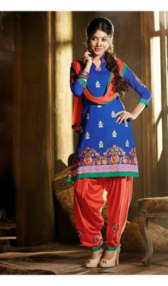 Blue Red  Color  Party Wear  Glorious  Semi Stitch Patiala Suit
