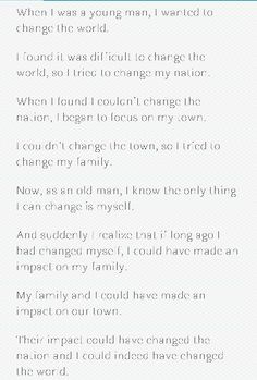 I wanted to change the world..