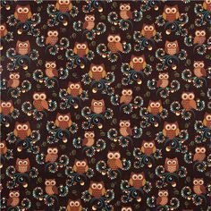 cute brown owl fabric Michael Miller from the USA 2