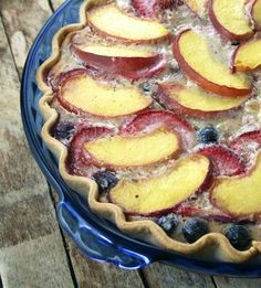August Pie - A cinnamon-kissed custard pie recipe filled with summer fruits!