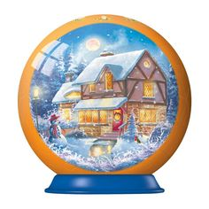 "Snow Covered House holiday puzzleball features perfectly crafted, curved puzzle pieces that fit together exactly for an easy to assemble puzzle sphere that looks great as a Christmas ornament or decoration for the holiday season. Each puzzleball is 54 pieces and measures 3"" in diameter when assembled. No glue required - the plastic pieces snap together and stay in place when complete. Released 2013."