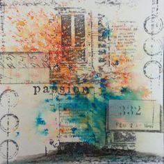 Brusho Turqoise und orange, Motivstempel Carabelle Studios - Idee und Umsetzung Daniela Rogall