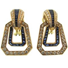 Oscar Heyman Diamond and Sapphire Ear Clips | From a unique collection of vintage clip-on earrings at https://www.1stdibs.com/jewelry/earrings/clip-on-earrings/