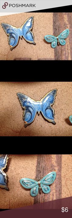 2 Enamel Butterfly Pins They have slight wear. Sold as is Jewelry Brooches