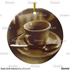 Sepia dark espresso ceramic ornament