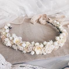 Bridal crown, Flower crown, Ivory flower crown, bridal flower crown, wedding crown, bridal floral crown,white flower crown, floral headband by SERENlTY on Etsy https://www.etsy.com/listing/246912365/bridal-crown-flower-crown-ivory-flower