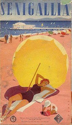 Senigallia Beach, an old poster Vintage Italian Posters, Poster Vintage, Vintage Travel Posters, Vintage Postcards, Vintage Advertisements, Vintage Ads, Vintage Photos, Beach Posters, Original Vintage