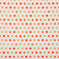 white Michael Miller dots fabric by Patty Young
