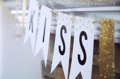 """FREE Adorable """"Kiss Me"""" banner to be used for St. Patty's Day and beyond! Easily customize it for your specific celebration! Pen & Paper, Anniversary Parties, Kiss Me, Paper Flowers, Party Time, Free Printables, Wedding Decorations, Banner, Diy Projects"""