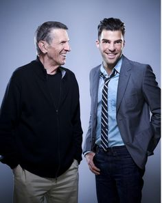 "mrssylargray: ""Leonard Nimoy & Zachary Quinto by Marla Rutherford "" Star Trek Ring, Star Trek Cast, Star Trek V, Star Trek Ships, Star Trek 2009, Star Trek Quotes, Zachary Quinto, Zachary Levi, Spock And Kirk"