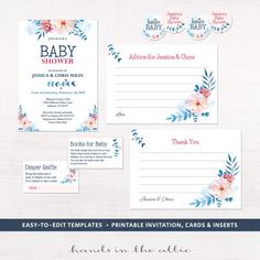 Couples baby shower invitation floral baby shower kit printables pink and navy blue thank you cards diaper raffle DIGITAL templates PDF by HandsInTheAttic