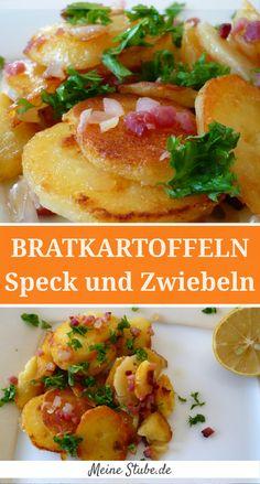 knusprige Bratkartoffeln mit Speck und Zwiebeln in Butterschmalz gebraten. Fried patatoes with bacon an onion.