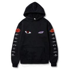 Akatsuki hoodie from anime naruto with sharingan - Black / XXL