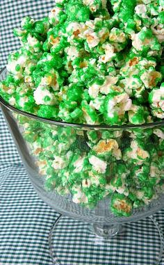 Here is a little green treat for St Paddy's Day! Green Candied Popcorn 4 quarts popped corn 1 1/2 Cups sugar 1/2 Cup light corn syrup 2 Tablespoons butter 1/2 teaspoon salt 1/4 teaspoon cream of ta...