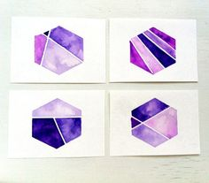 Color Block Purple Hexagon Watercolor ACEO Set / Instant Geometric Collection / Nate Berkus inspired