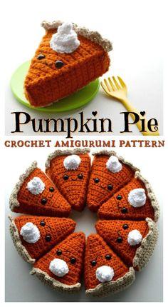 I love this sweet little pumpkin pie amigurumi crochet pattern! Kawaii crochet is such a fun kids' play food idea! Perfect for Thanksgiving! And low in calories! Crochet Kawaii, Crochet Diy, Crochet Motifs, Crochet Fall, Holiday Crochet, Crochet Crafts, Crochet Projects, Crochet Ideas, Crochet Cupcake