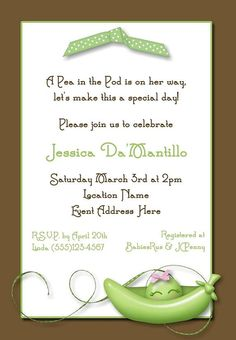 Sweet Pea in the Pod Baby Shower Invitation