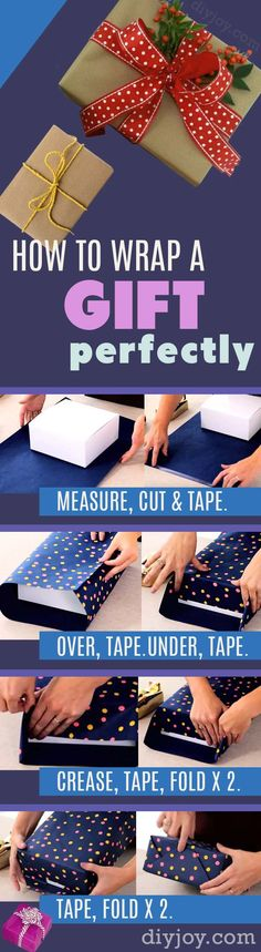 52 Creative Gift Wrapping Ideas How To Wrap A Gift – DIY Gift Wrap Tutorial – Step by Step Instructions for Perfect Gift Wrapping. Christmas and Birthday Present Paper Tips Present Wrapping, Creative Gift Wrapping, Creative Gifts, Gift Wrapping Ideas For Birthdays, Noel Christmas, Christmas Birthday, Christmas Crafts, Christmas Ideas, Easy Gifts