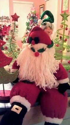 Playing peekaboo with Santa!   Elf on the Shelf