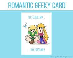Legend Of Zelda Inspired Valentineu0027s Card   Letu0027s Cuddle And Play  VideoGames , Printable Card, Love Card   INSTANT DOWNLOAD