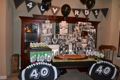 40th birthday party decorations for a football player. Love the banner!