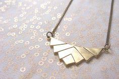 Geometric necklace, Chevron necklace, Bib necklace. Minimal jewelry, raw brass pendant. Sweet Geometry mod.D. $20.00, via Etsy.