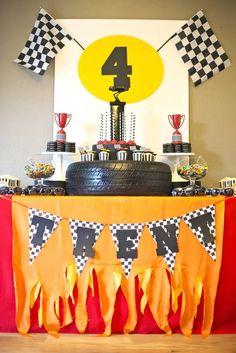 Boys Rad Race Car Themed Birthday Party Table Decoration Ideas