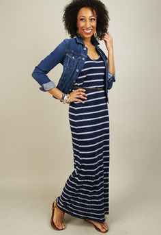 Hampton Stripe Sleevess Maxi