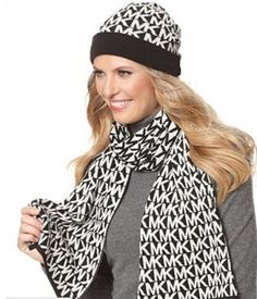 Michael Kors MK Signature Black/White Knit Scarf and Hat: Michael Kors Signature MK Logo Scarf and Beanie Set Hat And Scarf Sets, Scarf Hat, Beanie Hats, Handbags Michael Kors, Coach Handbags, Coach Purses, Michael Kors Black, Fashion Tips, Fashion Trends