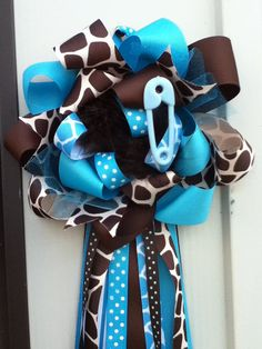 baby shower corsageTurquoise corsage by bonbow on Etsy, $19.99