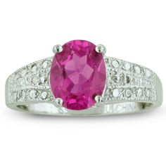 2 1/4ct Oval Shaped Pink Topaz And Diamond Ring In Sterling Silver