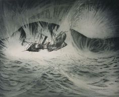 David Blackwood etching, Wreck of the S.S. Ranger, 1973, 16 X 20 inches.