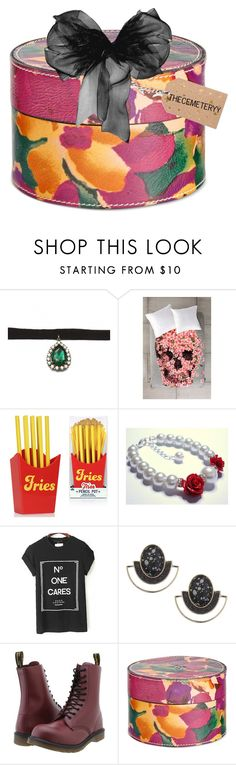 """""""gift box for: THECEMETERYY"""" by crimsonteardrop ❤ liked on Polyvore featuring Zara Taylor, DENY Designs, Topshop, Dr. Martens, Patricia Nash, fun, present, tip and Suprise"""