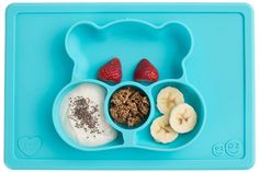 The ezpz Care Bears™ Mat in Wish Bear™ is an all-in-one placemat + plate that suctions to the table, which means that it captures the mess and eliminates tipped bowls and plates. Made from 100% food-grade silicone that is BPA, BPS, PVC, latex and phthalate free. Designed from infants / toddlers 6+ months.