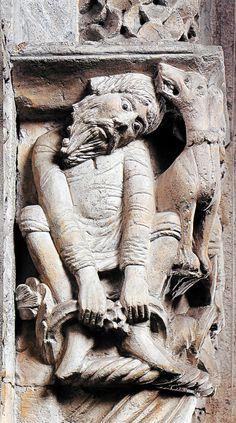 Romanesque Sculpture, Romanesque Art, Romanesque Architecture, Gold Armor, Man And Dog, Historical Art, Medieval Art, Stone Carving, Roman Empire