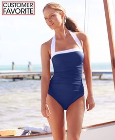 00463596cd96 Lauren Ralph Lauren Ruched Tummy-Control Halter One-Piece Swimsuit Halter One  Piece Swimsuit