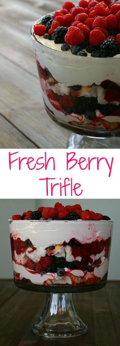 Handfuls of fresh berries, layers of moist cake and heaping scoops of fresh whipped cream, or coconut whipped cream make this the best trifle ever! Cherry Trifle Recipes, Trifle Bowl Recipes, Berry Trifle, Trifle Desserts, Summer Desserts, Just Desserts, Layered Desserts, Fruit Parfait, Healthy Yogurt