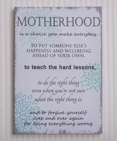Blue & White 'Motherhood' Canvas #zulily #zulilyfinds