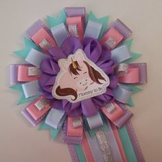 Baby Unicorn in Silver Baby Shower Mommy to Be Corsage by yeseniacouture on Etsy