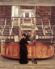 A bibioteca da Filadélfia, 1875 George Bacon Wood ( EUA, 1832-1910) óleo sobre tela