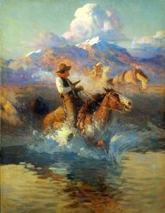 Trouble On The Pony Express / Frank Tenney Johnson kK Fort Worth Art Museum, Westerns, Pony Express, Southwest Art, Wow Art, Le Far West, Country Art, Horse Art, Native American Art