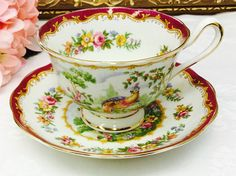 Royal Albert Chelsea Bird teacup and saucer by MarquisTreasures on Etsy